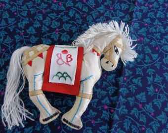 Ornament - Vintage Embroidered China Fabric Horse Christmas Ornament - Vintage - highly decorated - Made in China