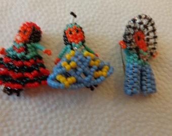 Bead dolls. Three Vintage beaded Indian Dolls