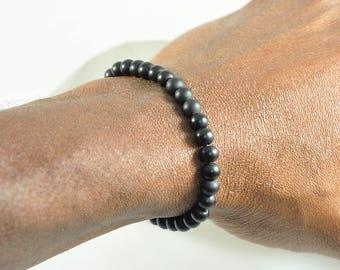 Black, Matte, Onyx, Gemstone, Stretchy Bracelet, Healing Gemstone Jewelry, Men's Jewelry, Unisex Jewelry