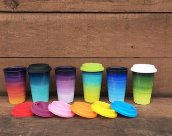 Purple Ombre Ceramic Travel Mug with Silicone Lid - Colorful Gradient Design - Pick Your Lid Color - Shades of Purples
