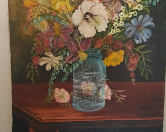 Original vintage cottage painting of flowers in a Ball Mason Jar