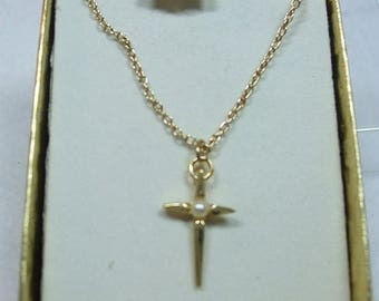 SALE 50% OFF Vintage Beautiful Cross Necklace with Faux Pearl in Original Box