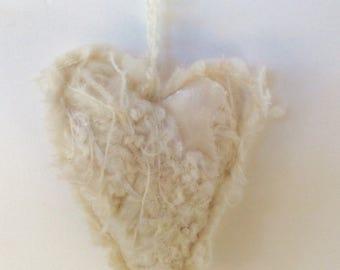 TEXTILE HEART Felted little heart, with added yarns ribbon velvet