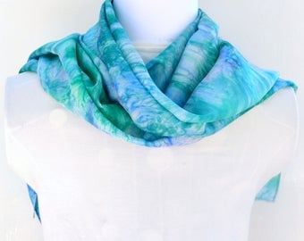 Hand dyed Silk Scarf,  Silk Habotai Scarf, Gift for Her, Ready to ship, 60 x 11 inches, SallyAnnesSilks on Etsy S157
