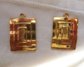 Drop, gold-plated brass, 23x19mm fancy rectangle. Pack of 2 drops.