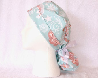 Surgical PonyTail Scrub Cap for Women - Scrub Hat pony tail style, Coral on Turquoise, Pony Scrub Hat