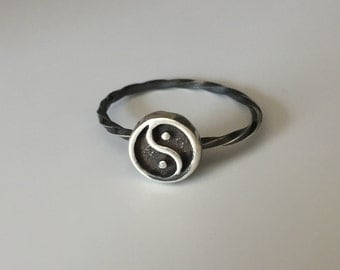 Yin/Yang Stacking Ring. Sterling silver stacker jewelry mix and match. Positive negative energy peace yoga jewelry.