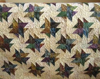 Handmade Quilt, Batik Quilt, Patchwork Quilt, Lap Quilt, Quilted Throw, Homemade Quilt, Sofa Quilt, Home Decor, Pieced Quilt