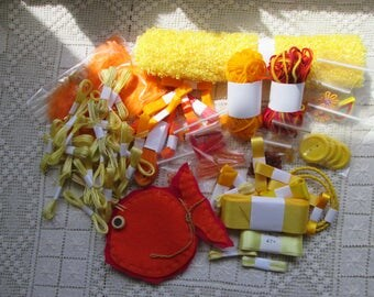 Yellow and Orange Grab Bag with lost of surpring Sewing Notions (USA) Haberdashery (UK)