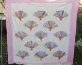 "Quilt Top, Fan Pattern, Pastel, Feedsack, 40's, square, pink, 80"" x 81"""