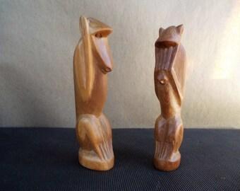 Vintage Pair of Carved Teak Monkey Figures See No and Hear No Evil