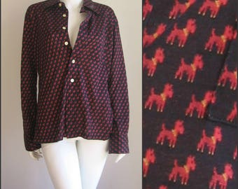 Harris tweed Dog novelty 70s shirt vintage