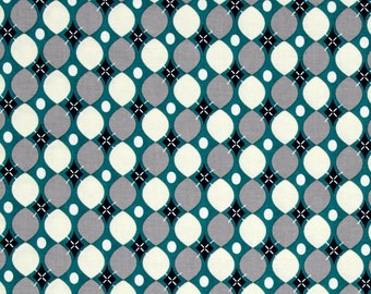 Splat splash Mat, Art Mat or Table Cloth for highchair or table, retro groovin' dots on teal, Waterproof laminated cotton, BPA Free