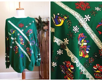 Ugly Christmas Sweater Party Vintage Holiday Sweatshirt Green Large XL