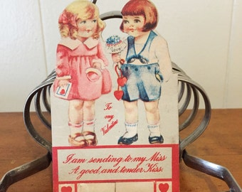 Vintage Valentine Card 1920s 1930s Valentine's Day Children Ephemera Paper