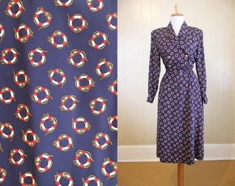 Sailor Dress Nautical Vintage Navy Blue Belt Life Bouy Print Small