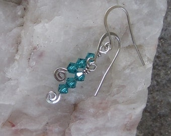 Sterling Silver Blue Zircon Preciosa Czech Crystal Earrings, Silver Swirl, Petite Dangle Earrings, Colorful Teal Stack Earrings, Silver Wire