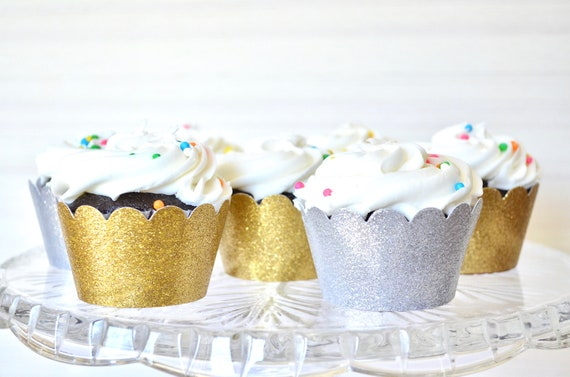 Glitter Cupcake Wrappers - Sets of 12, 24, 30, 36, 50, 75 or 100! Choose from: Gold, Silver, Copper, Black, Hot Pink, Light Pink & many more