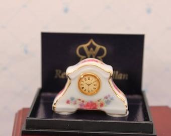 Miniature Mantel Clock Reutter German Porcelain 1 inch scale Dollhouse Decor Original Box