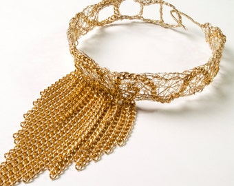 Gold Wire Collar with Chain Fringe