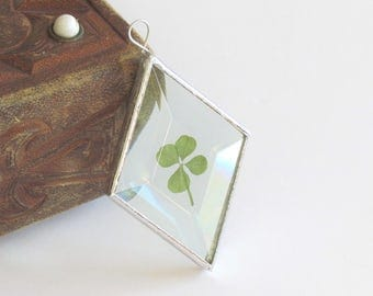 Genuine Four Leaf Clover Stained Glass Suncatcher Unique Botanical Ornament Gift Idea St Patrick's Day Decor Handmade in Canada