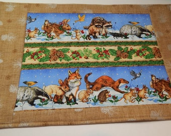 Christmas Table Runner, Winter Table Mat, Pinecones, Animals, Birds, Made in Maine USA