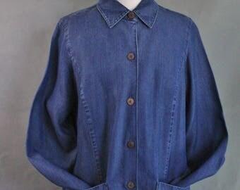 FREE SHIPPING Womens Dark Blue Tencel Lyocell Soft Summer Shirt Jacket, Work Jacket, Western, Minimalist, Neutral Basic, Grunge, Size Large