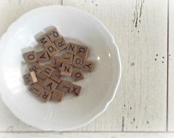 vintage scrabble letters lot of 35 destash supply crafts jewelry making tiles