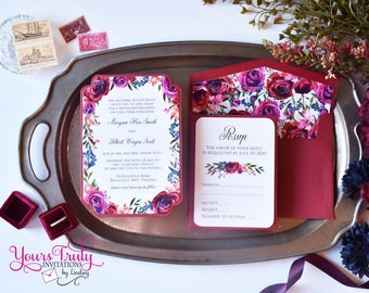 Sample - Beautiful Die Cut Watercolor Romantic Dark Red Roses, Purple, Dark Blue and Greenery with matching Floral Envelope liner and RSVP