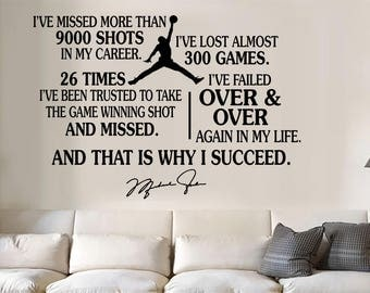 Michael Jordan Jumpman Succeed Quote Vinyl Wall Decal/Words/Sticker  Inspirational Part 79