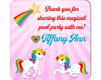 Personalized Happy Birthday Stickers Rainbow Unicorns Square Glossy Labels -  Children Party Favors, Kids Special Events, Girl Birthday