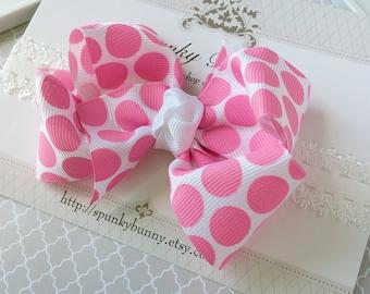 Large Pink Polka Dot Hair Bow Headband for Baby, Stretchy Headband for Toddler, Pink Polka Dot Headband, Toddler Headband, Little Girl Bow