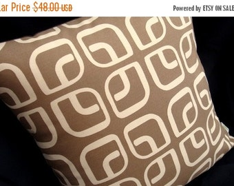 """FAB SALE Modern Geometric Pillow Cover - Coffee Latte - Home Decorator Fabric - 17"""" x 17"""" for an 18"""" insert"""