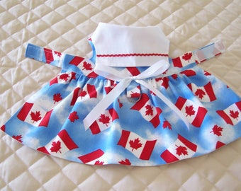 Lovely Handmade Canada Day XS-S Dog Dress Flags Pets Apparel