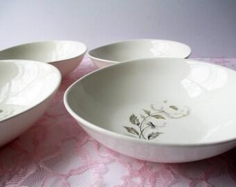 Vintage Cereal Bowls Universal Potteries Alaskan Poppy Alf Robson Mod Set of Four