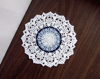 Blue and White Lace Crochet Doily, Table Accessory, New, Modern Chic Home Decor
