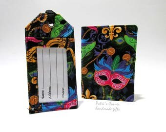 Matching handmade passport cover and luggage tag -  Mardi gras masquerade mask - Ready to ship - Travel gift ideas for her - birthday gift