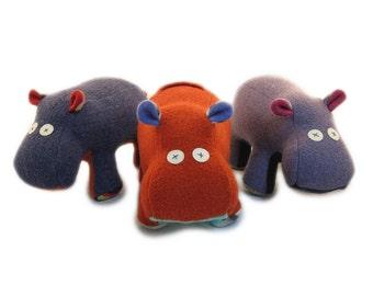 Cate and Levi Handmade Softy Hippo Stuffed Animal (100% USA Polar Fleece)