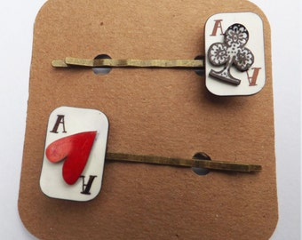 Playing cards hair grips set of two - Aces high! poker cards, Alice in wonderland, barrettes and clips, Harley Quinn. quirky accessories
