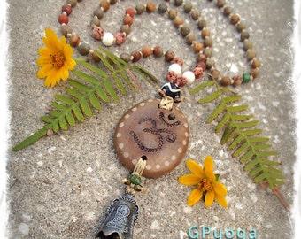MEDITATION Bell necklace OM necklace Earthy jewelry Rainbow Jasper beaded necklace Spiritual Mantra YOGA jewelry Artisan jewelry GPyoga