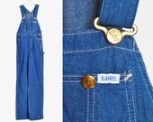 Vintage 70s Lee Blue Denim Overalls Pants Women / 1970s Denim Pants Straight Leg Baggy Long Jean Pants Hipster Vintage Carpenter XXS
