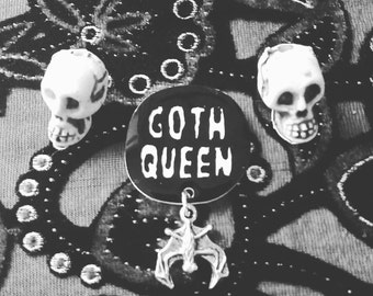 goth queen bat brooch, button, witchy pin, spell book, black magick, witchcraft, path, pentacle, devil, illuminati