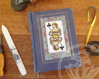 Tarot Blue Leather Journal for Writer Artist Sketching - Handmade Eco Vintage materials
