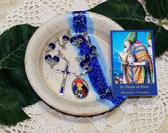 Unbreakable Catholic Chaplet of St. Denis of Paris - Patron Saint Against Headaches and Rabies - Handmade Heirloom Chaplet