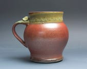 Pottery beer mug, ceramic mug, extra large stoneware stein, iron red 24 oz 3869