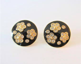 Vintage AVON Earring Set / Gold and Black Floral Clip On Costume Earrings