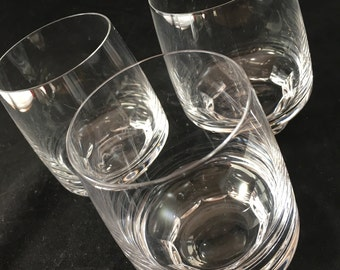 Mid Century Crystal Old Fashioned Glasses Set of 3