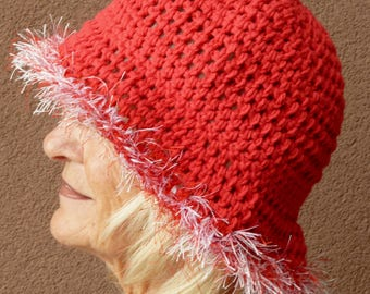 Red Hats, Red Hat Society, Women's Crochet Hat, Summer Brimmed Hat, Women's Fashions, Red Cotton Hat