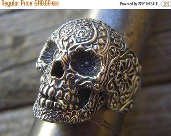 ON SALE SALE...Large sugar skull ring in sterling silver