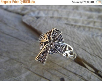 ON SALE Celtic cross ring in sterling silver